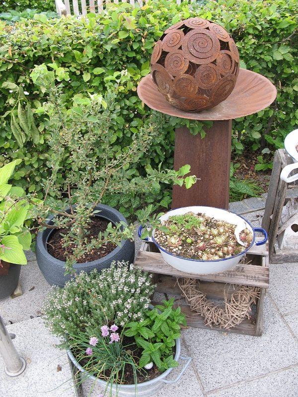 Pflanzen auf der Terrasse, Zierapfel, Kräuter, Dachwurzen